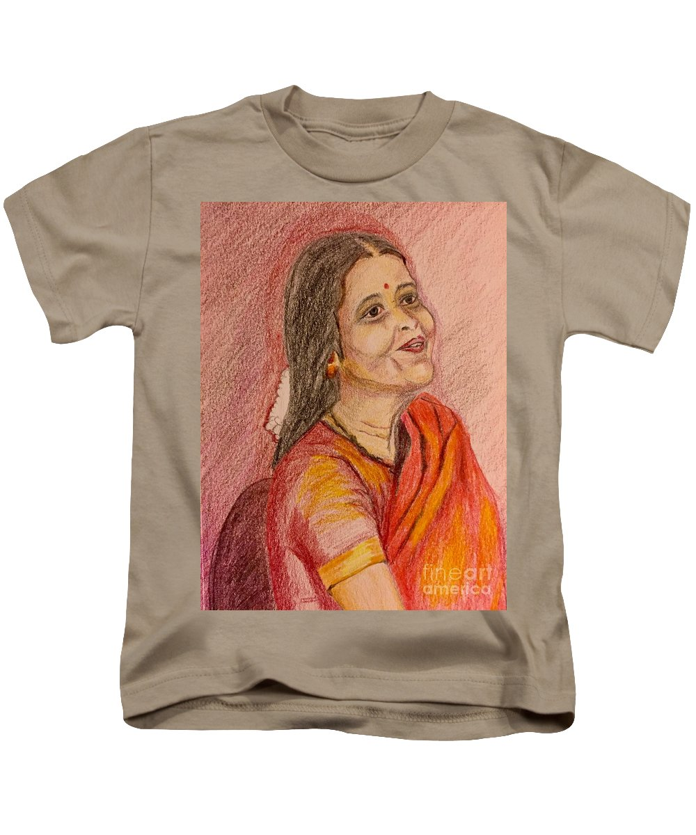 Color Pencil Drawing Kids T-Shirt featuring the painting Portrait With Colorpencils by Brindha Naveen
