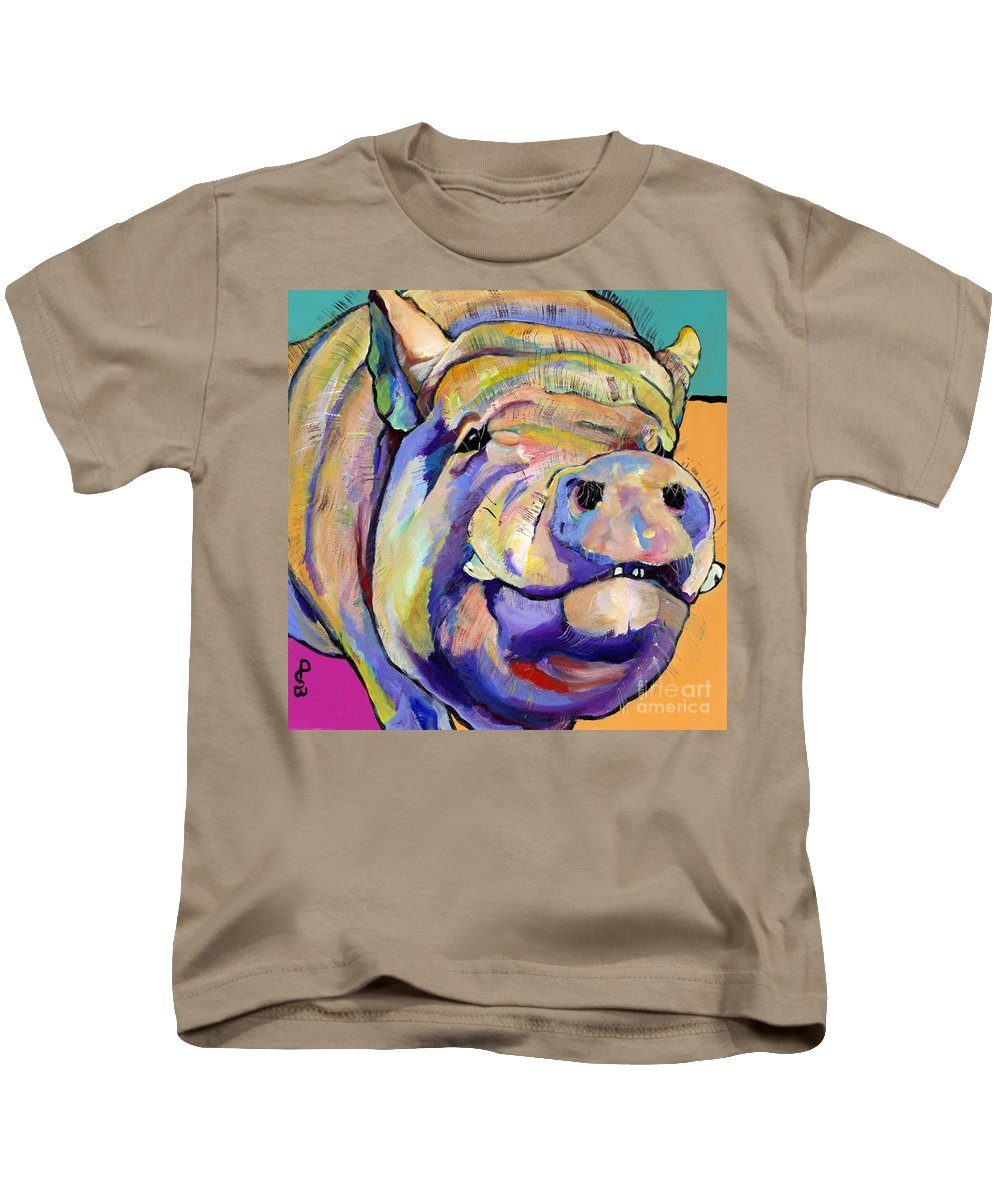 Pig Prints Kids T-Shirt featuring the painting Potbelly by Pat Saunders-White