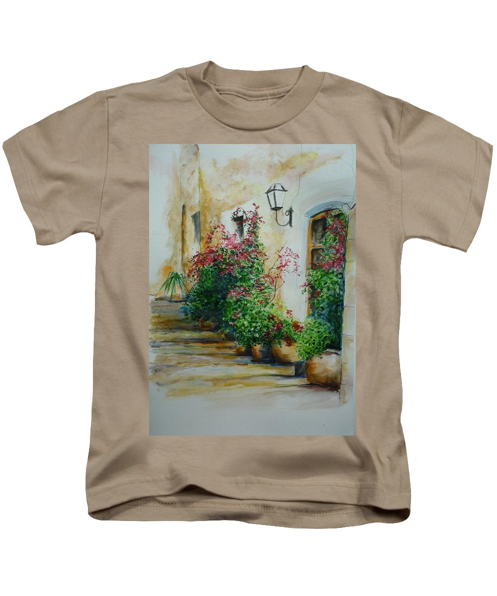 Earthenware Pots Kids T-Shirt featuring the painting Pots And Plants by Lizzy Forrester
