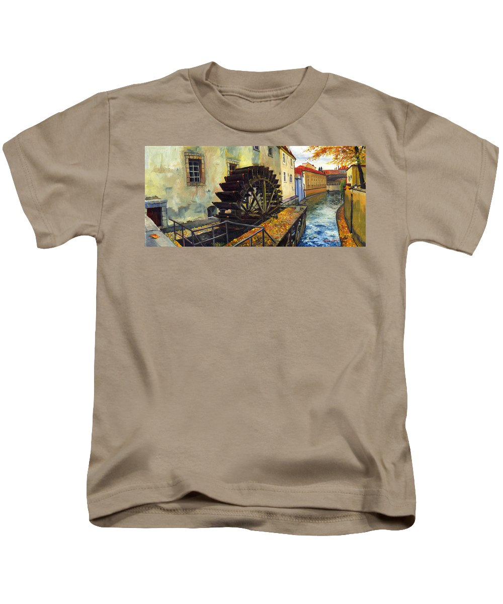 Prague Kids T-Shirt featuring the painting Prague Chertovka by Yuriy Shevchuk
