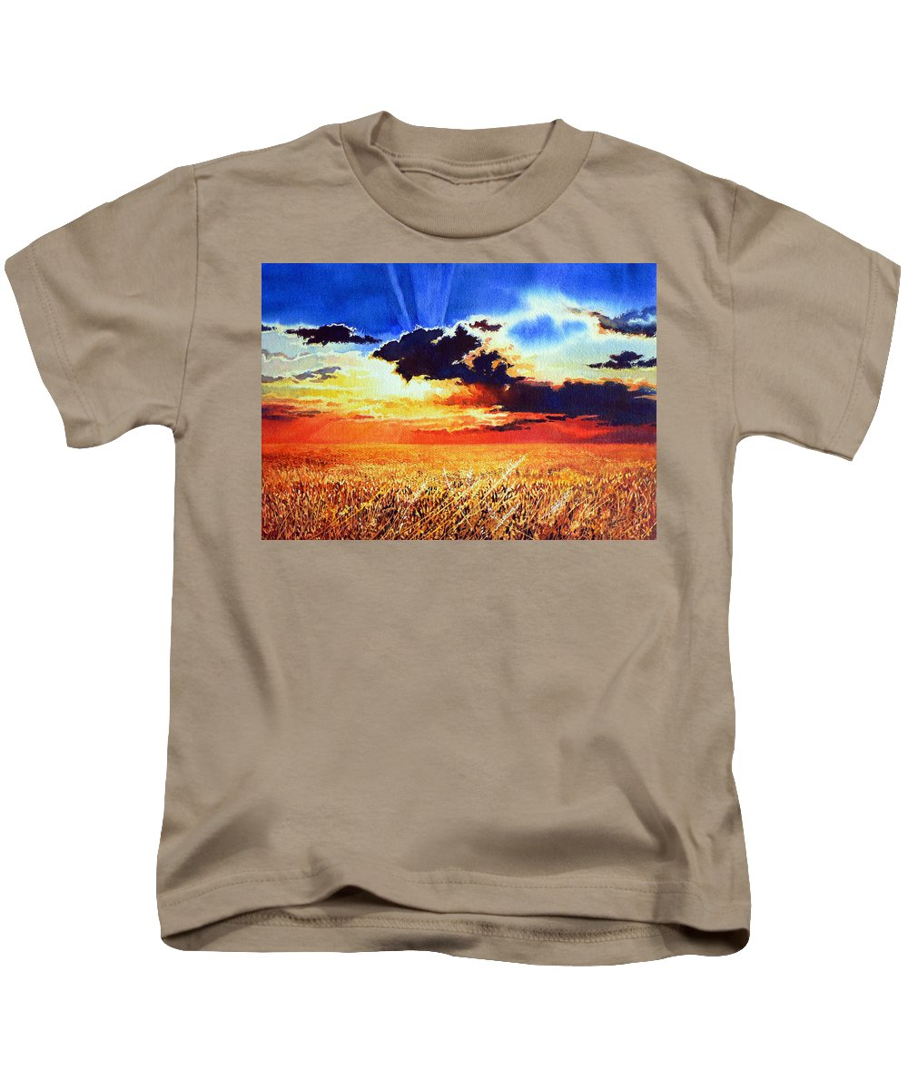Prairie Gold Painting Kids T-Shirt featuring the painting Prairie Gold by Hanne Lore Koehler