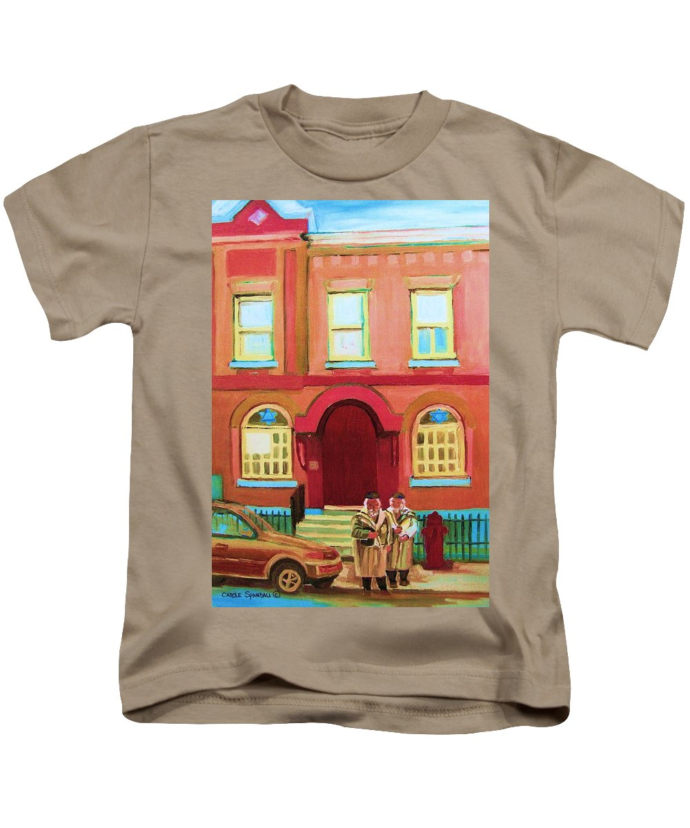 Bagg Street Synagogue Kids T-Shirt featuring the painting Prayer Shawls by Carole Spandau