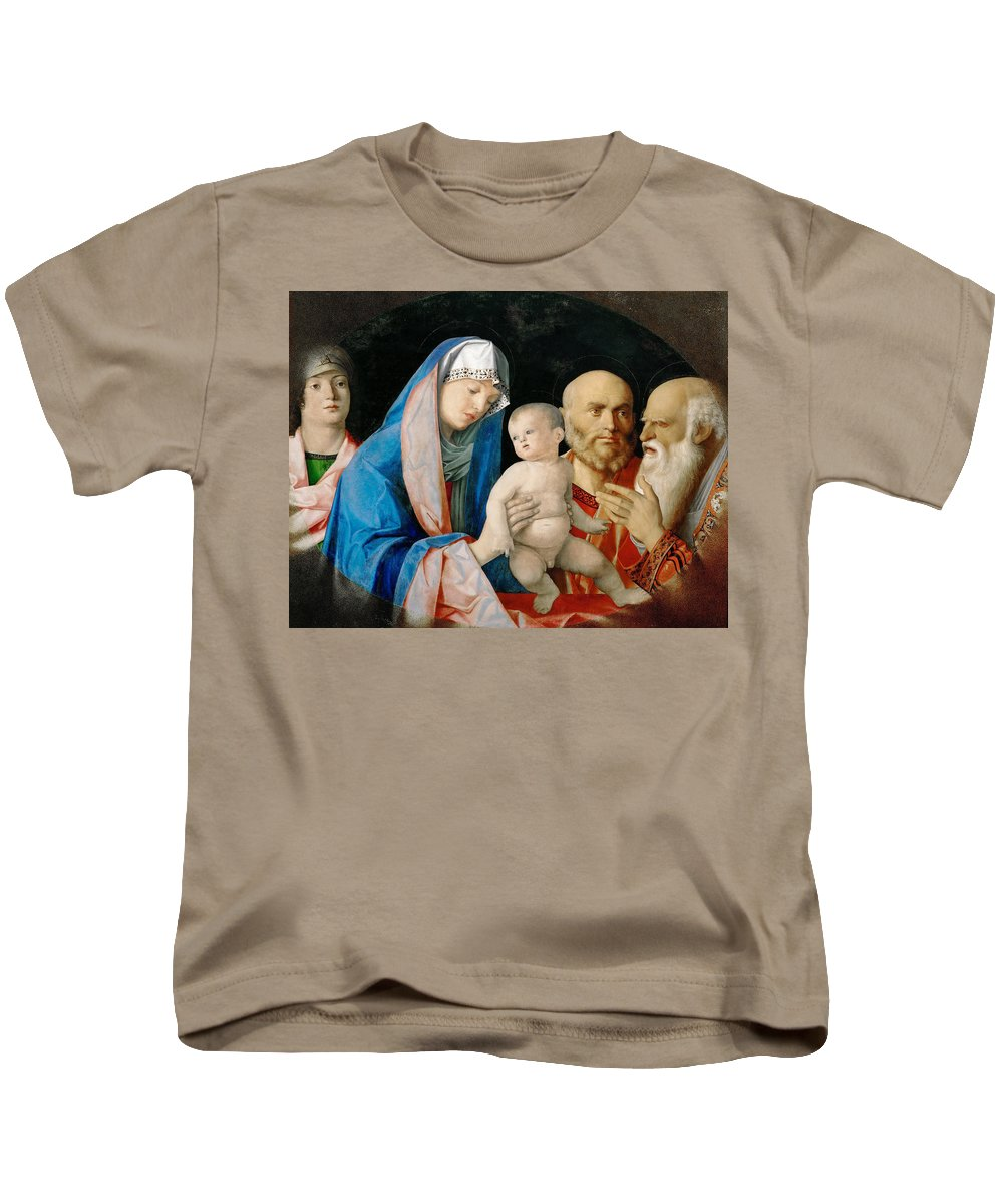 Giovanni Bellini Kids T-Shirt featuring the painting Presentation Of Christ In The Temple by Giovanni Bellini