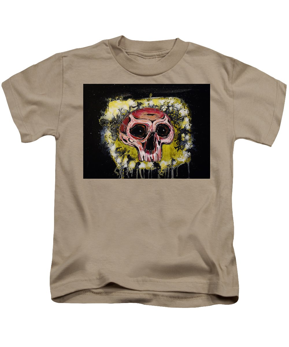 Skulls Kids T-Shirt featuring the painting Primordial Portraits 9 by David Buschemeyer