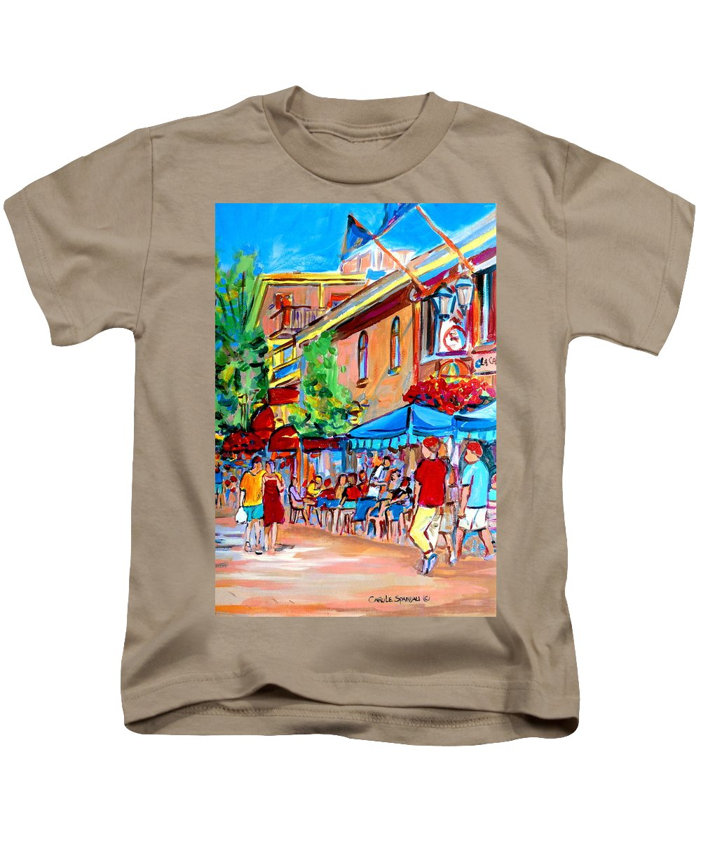 Cafes Kids T-Shirt featuring the painting Prince Arthur Street Summer by Carole Spandau