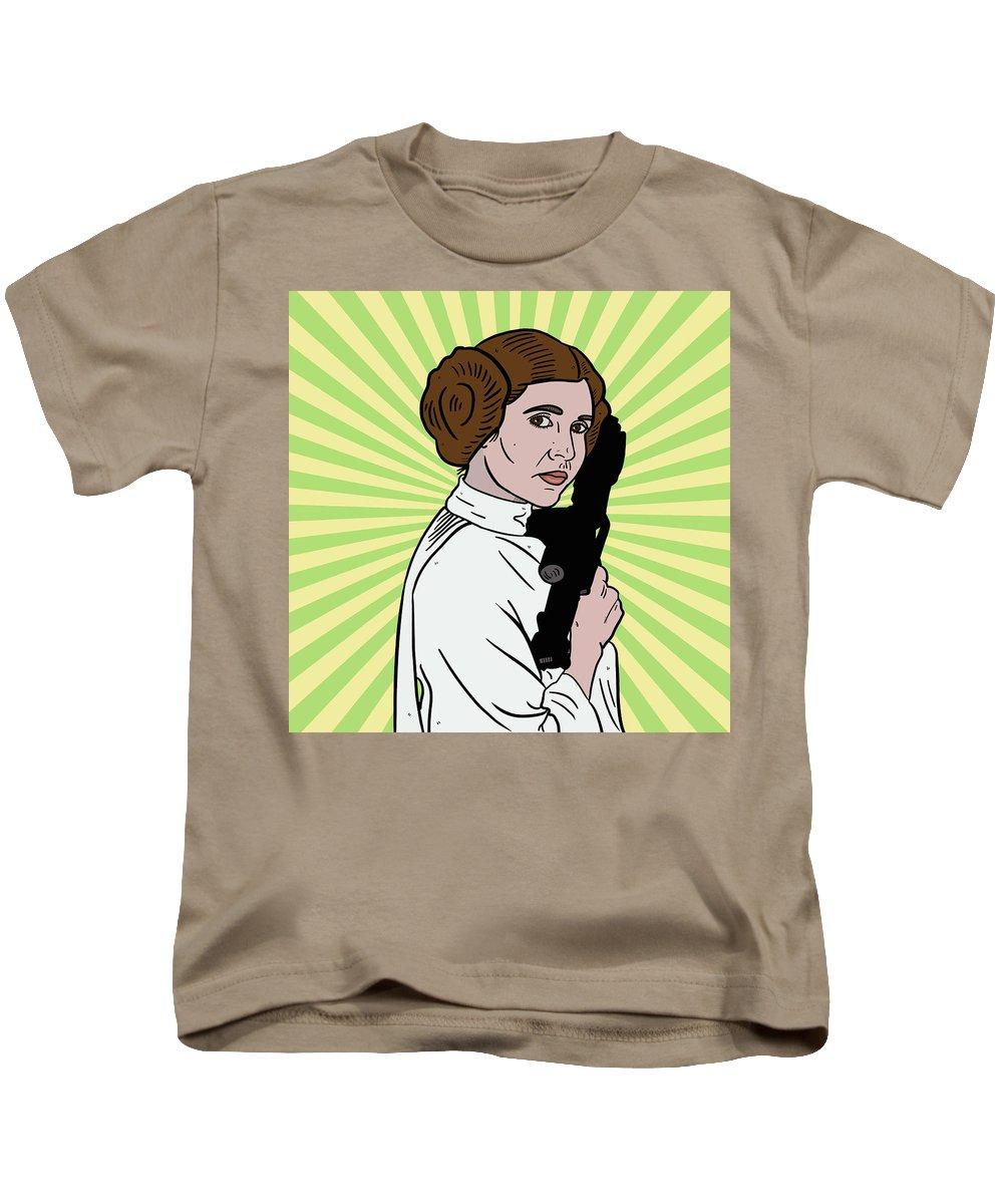 Princess Leia Kids T-Shirt featuring the drawing Princess Leia by Nicole Wilson