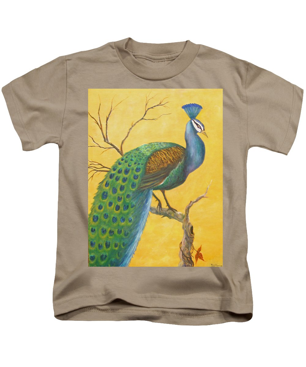 Peacock; Birds; Fall Leaves Kids T-Shirt featuring the painting Proud As A Peacock by Ben Kiger