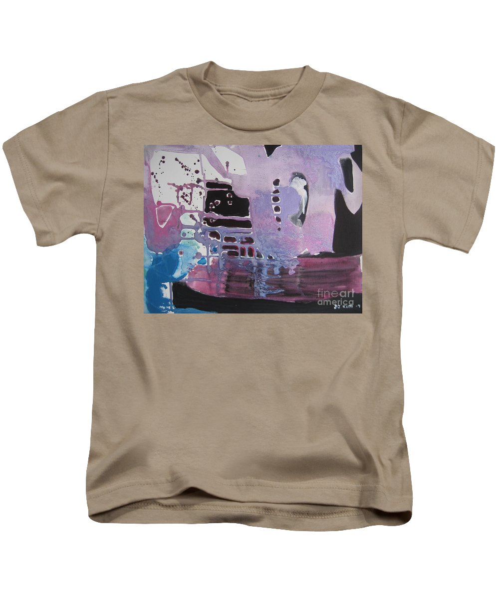Abstract Paintings Kids T-Shirt featuring the painting Purple Seascape by Seon-Jeong Kim