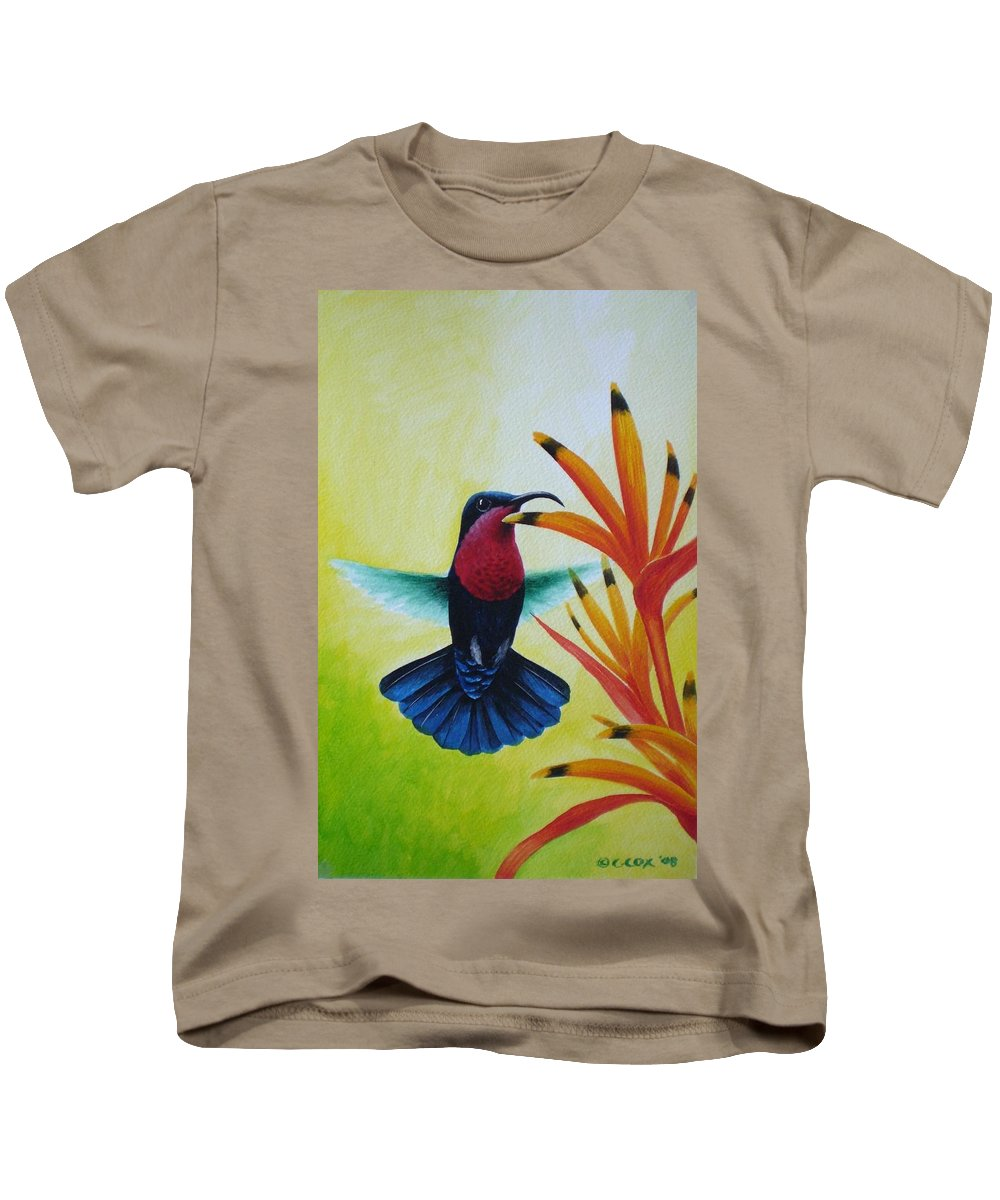 Purple-throated Carib Kids T-Shirt featuring the painting Purple-throated Carib And Bird Of Paradise by Christopher Cox
