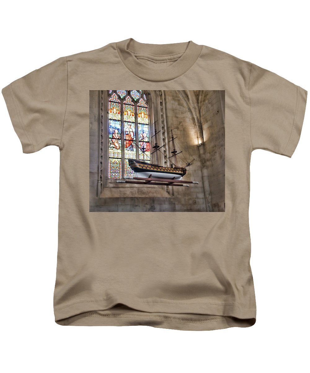 Quelven Church Kids T-Shirt featuring the photograph Quelven Church, Brittany, France, Ship by Curt Rush