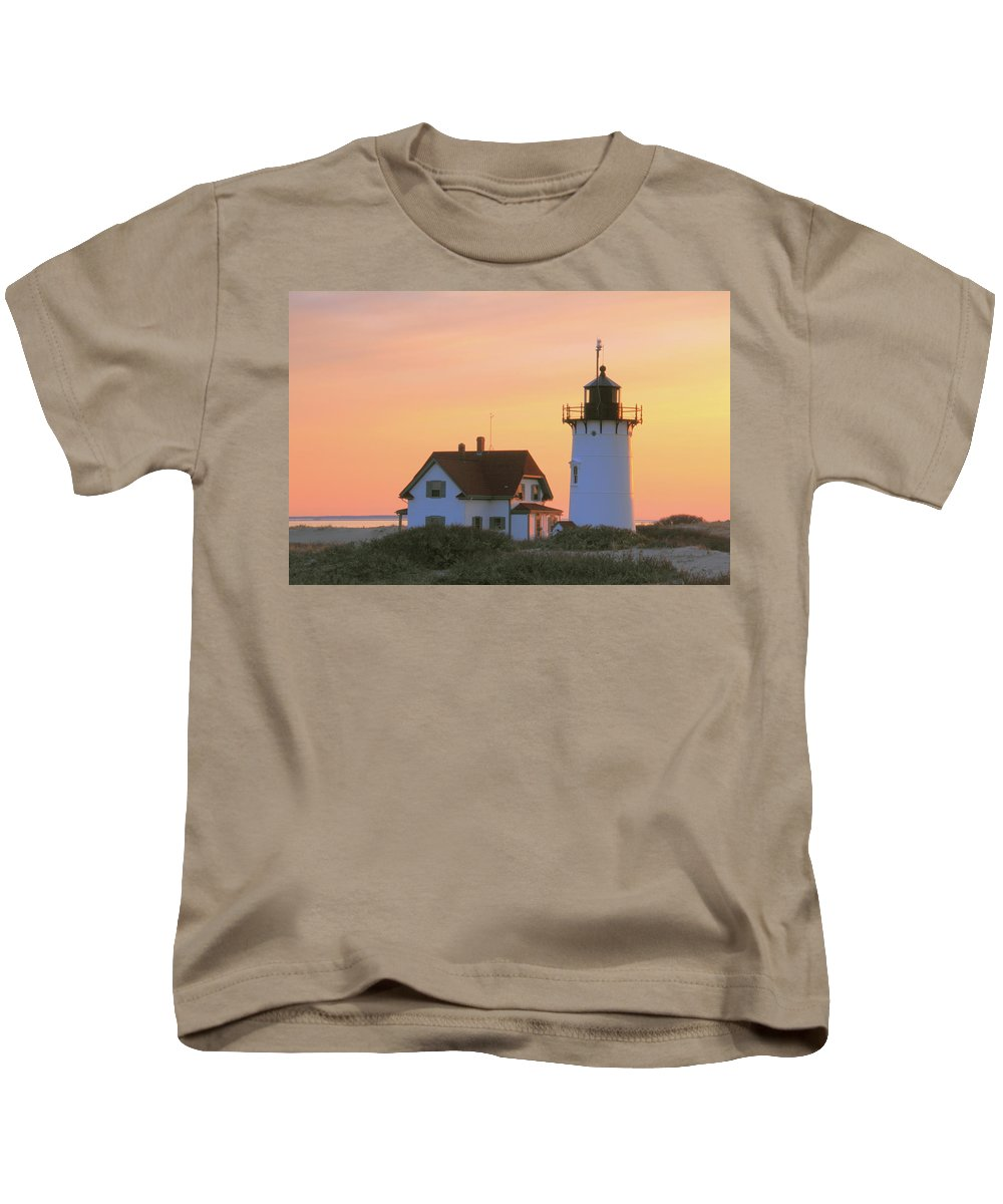 Lighthouse. Light Kids T-Shirt featuring the photograph Race Point Light by Roupen Baker