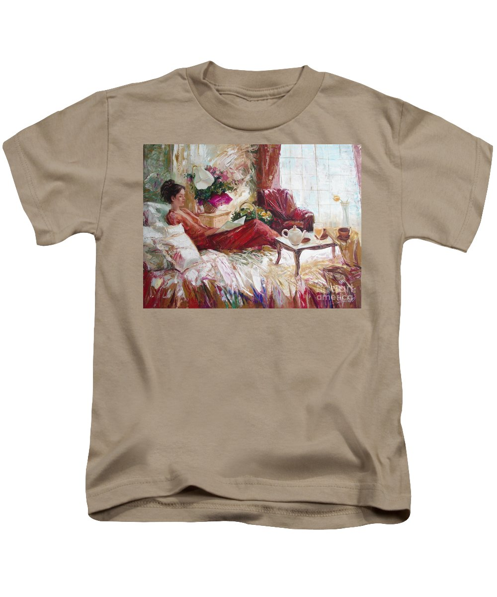 Art Kids T-Shirt featuring the painting Recent News by Sergey Ignatenko