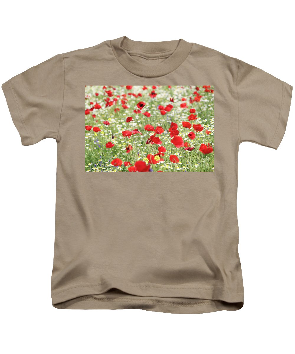 Camomile Kids T-Shirt featuring the photograph Red And White Wild Flowers Spring Scene by Goce Risteski