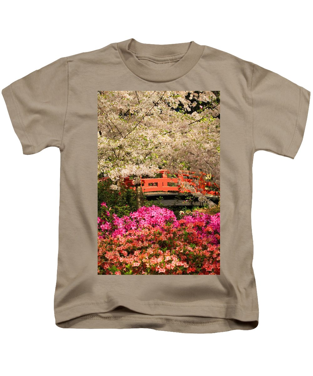 Floral Kids T-Shirt featuring the photograph Red Bridge And Blossoms by James Eddy