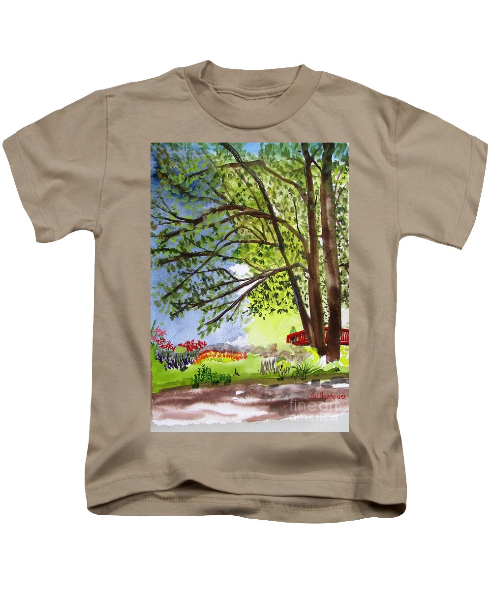 Landscape Kids T-Shirt featuring the painting Red Brtdge by Hal Newhouser