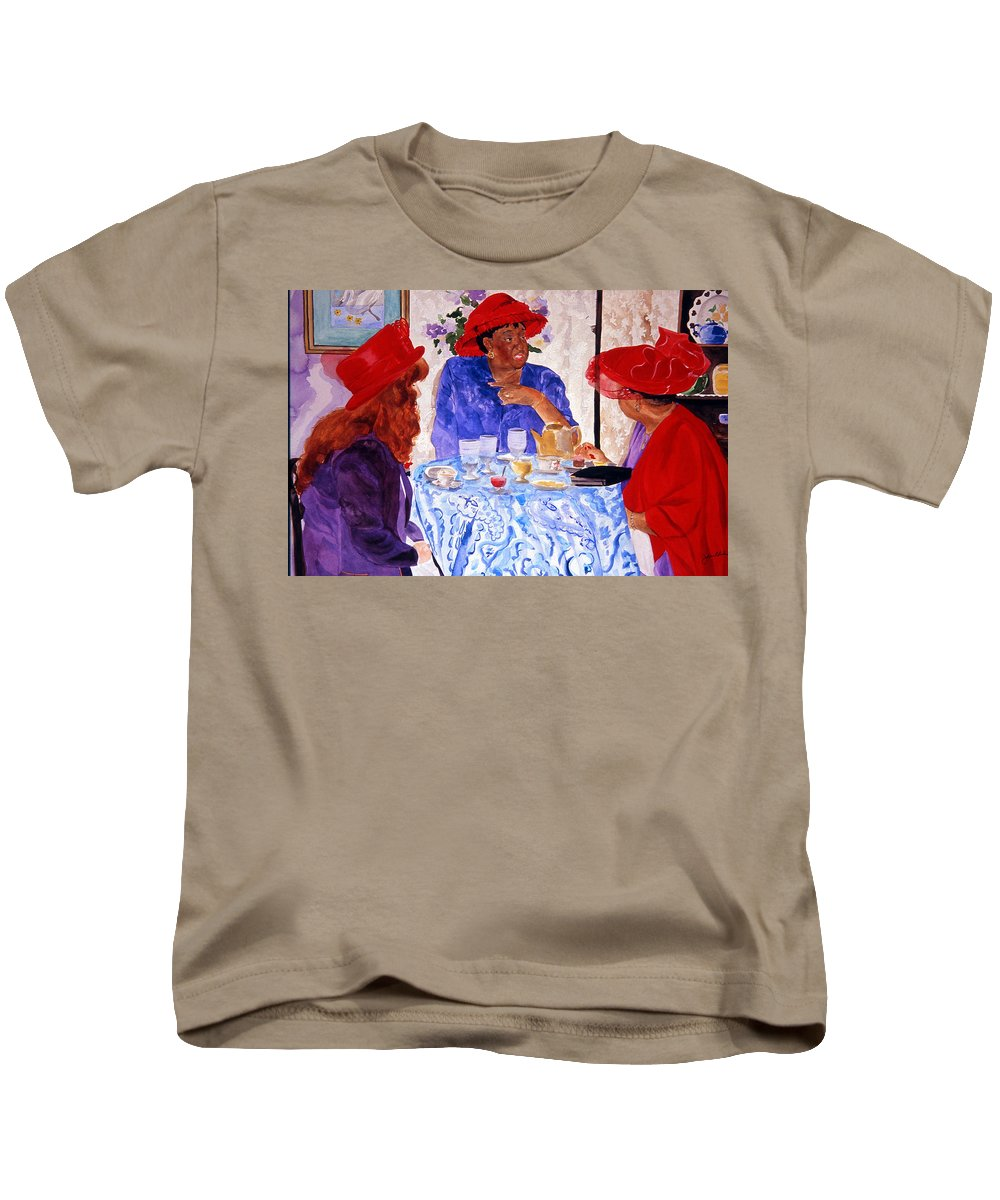 Red Hat Kids T-Shirt featuring the painting Red Hatters Chatter by Jean Blackmer
