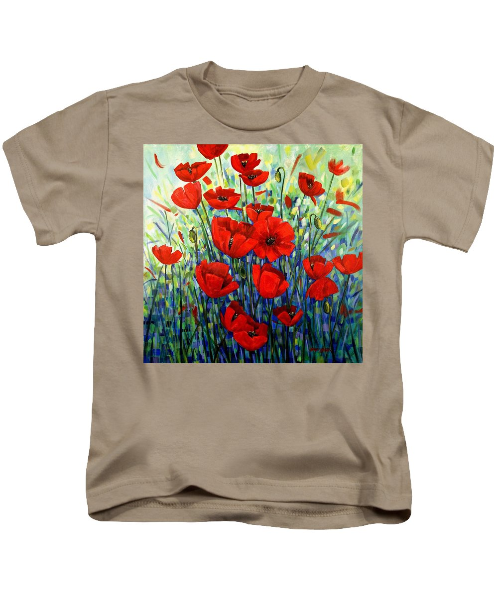 Floral Kids T-Shirt featuring the painting Red Poppies by Georgia Mansur