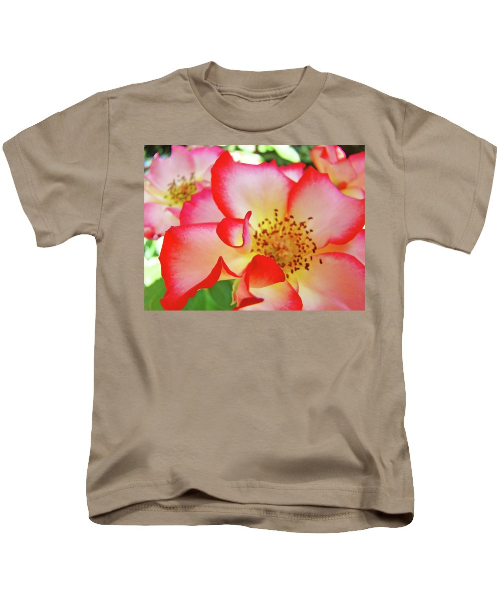 Rose Kids T-Shirt featuring the photograph Red Roses White Yellow Rose Flower Floral Art Print Baslee Troutman by Baslee Troutman