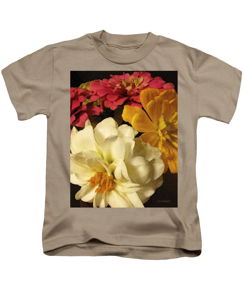 Flowers Kids T-Shirt featuring the photograph Red White And Yellow Zinnias by Ed A Gage