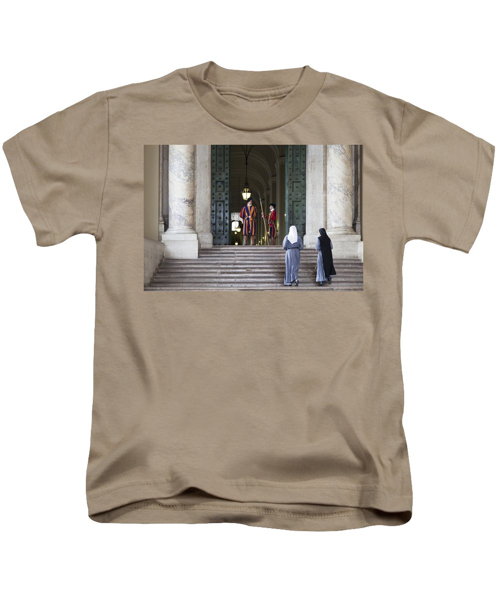 Italy Kids T-Shirt featuring the photograph Religious Visit by Janet Fikar