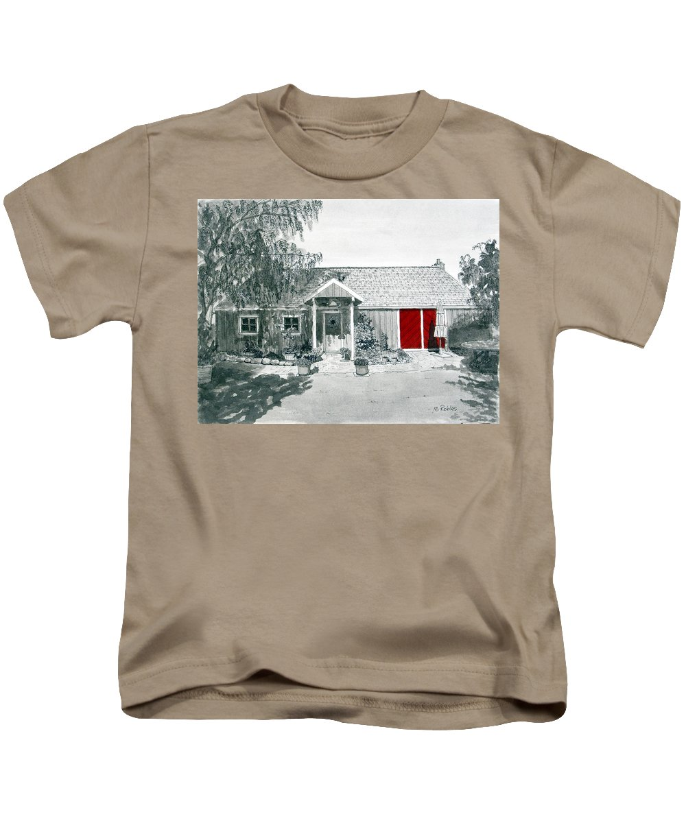 Retzlaff Winery Kids T-Shirt featuring the painting Retzlaff Winery With Red Door No. 2 by Mike Robles