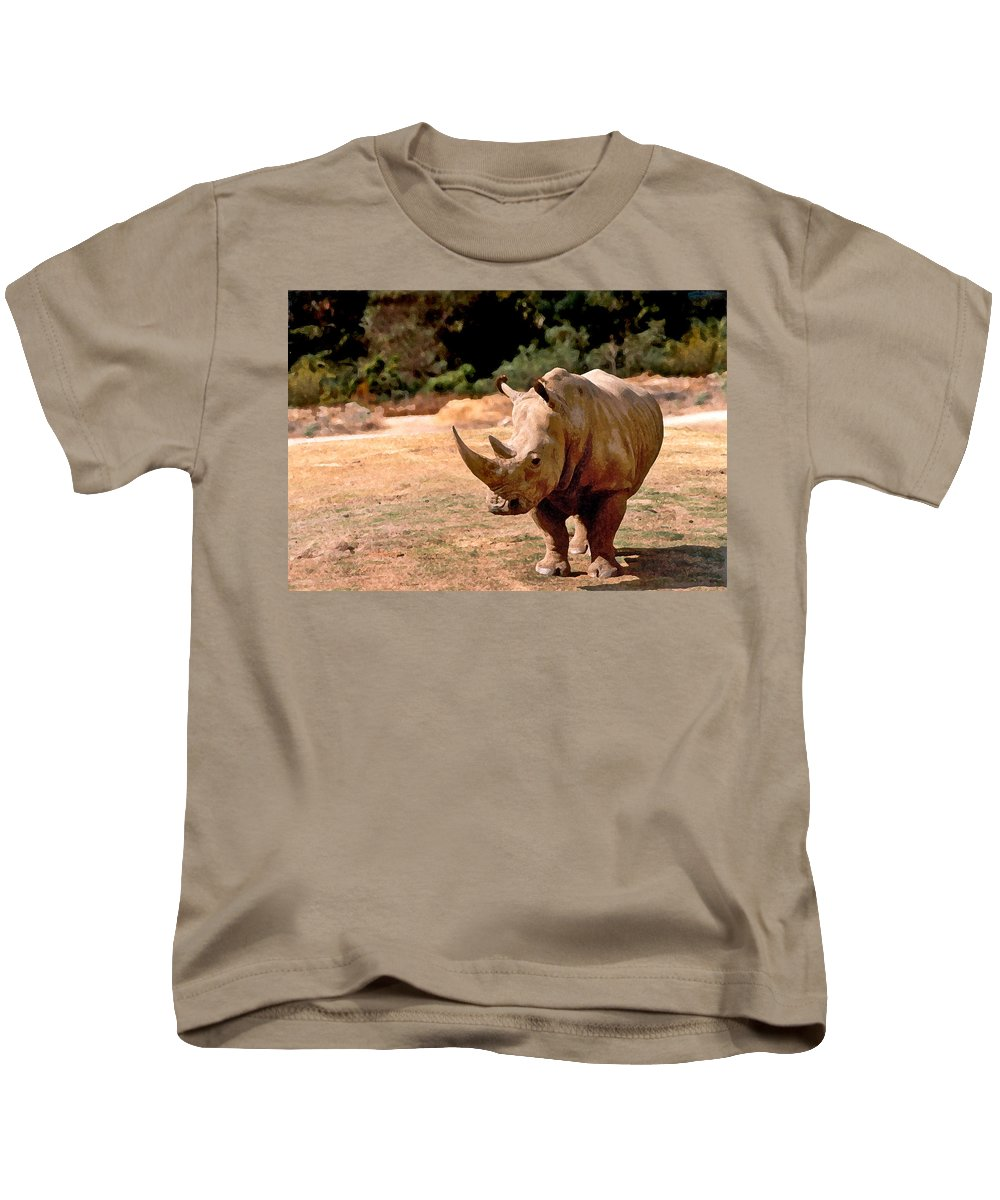 Animal Kids T-Shirt featuring the painting Rhino by Steve Karol
