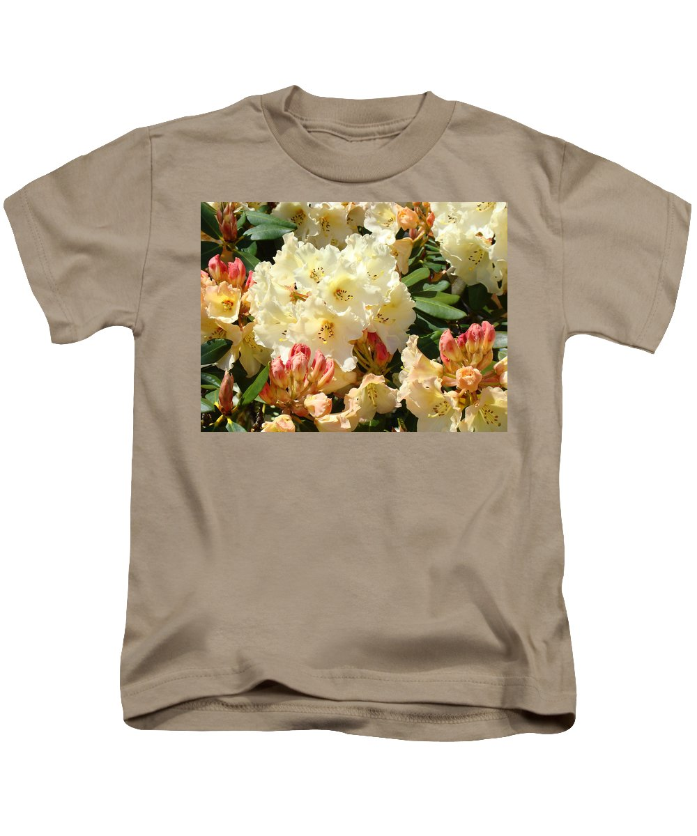 �azaleas Artwork� Kids T-Shirt featuring the photograph Rhodies Creamy Yellow Orange 3 Rhododendrums Gardens Art Baslee Troutman by Baslee Troutman