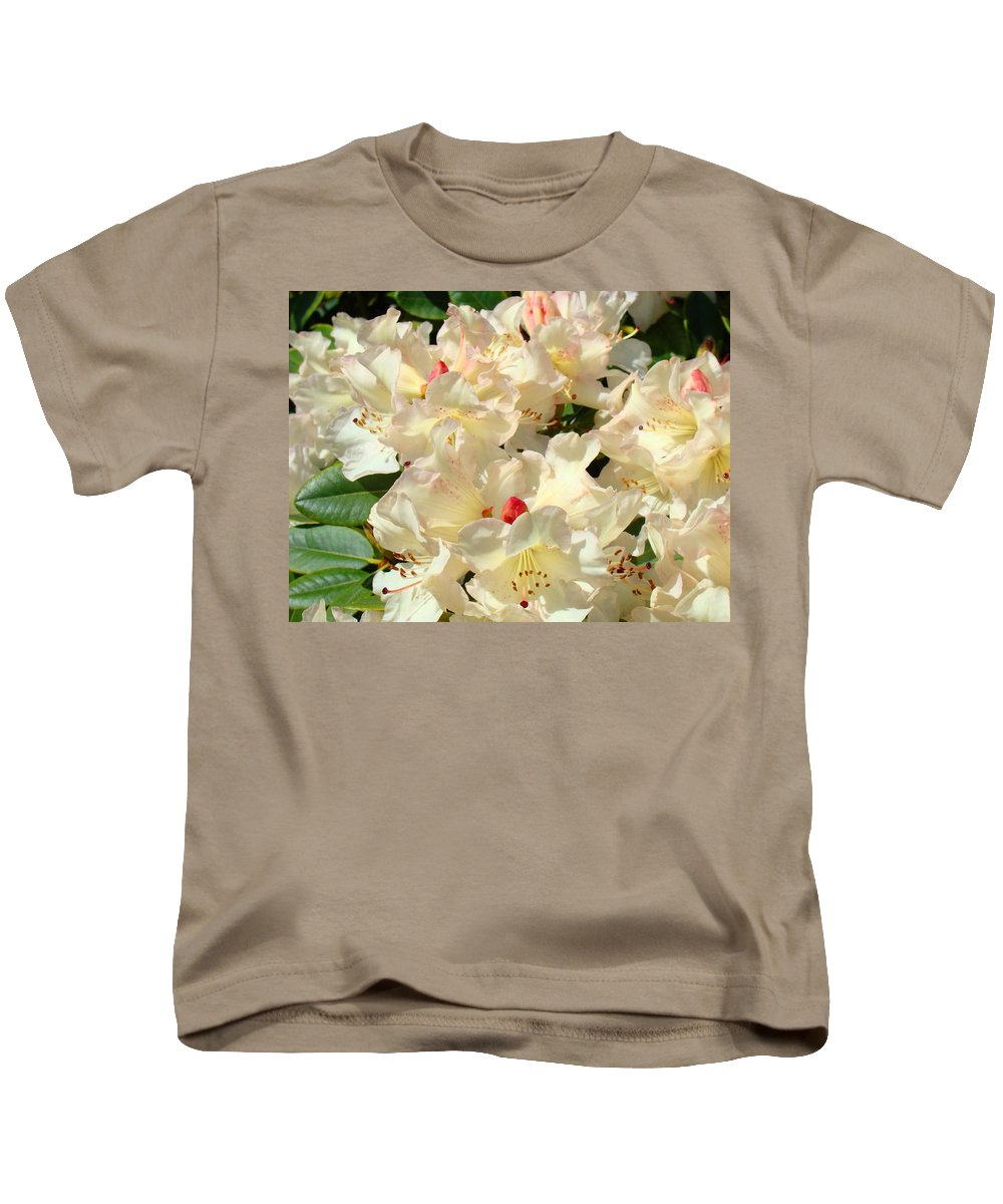 Rhodies Kids T-Shirt featuring the photograph Rhododenrons Floral Art Prints Yellow Pink Rhodies Baslee Troutman by Baslee Troutman