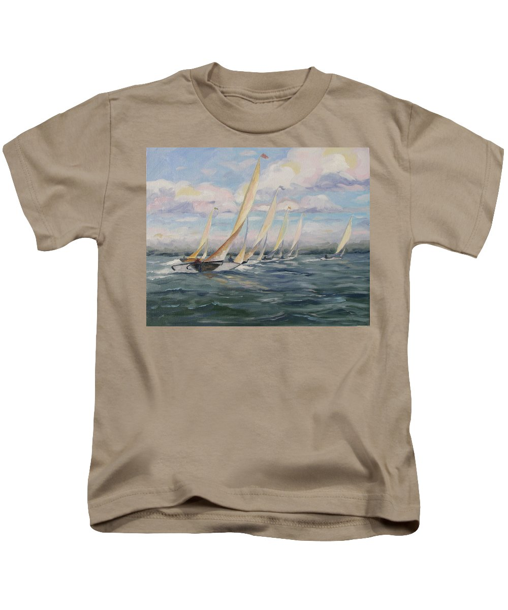 Riding Waves Kids T-Shirt featuring the painting Riding The Waves by Jay Johnson