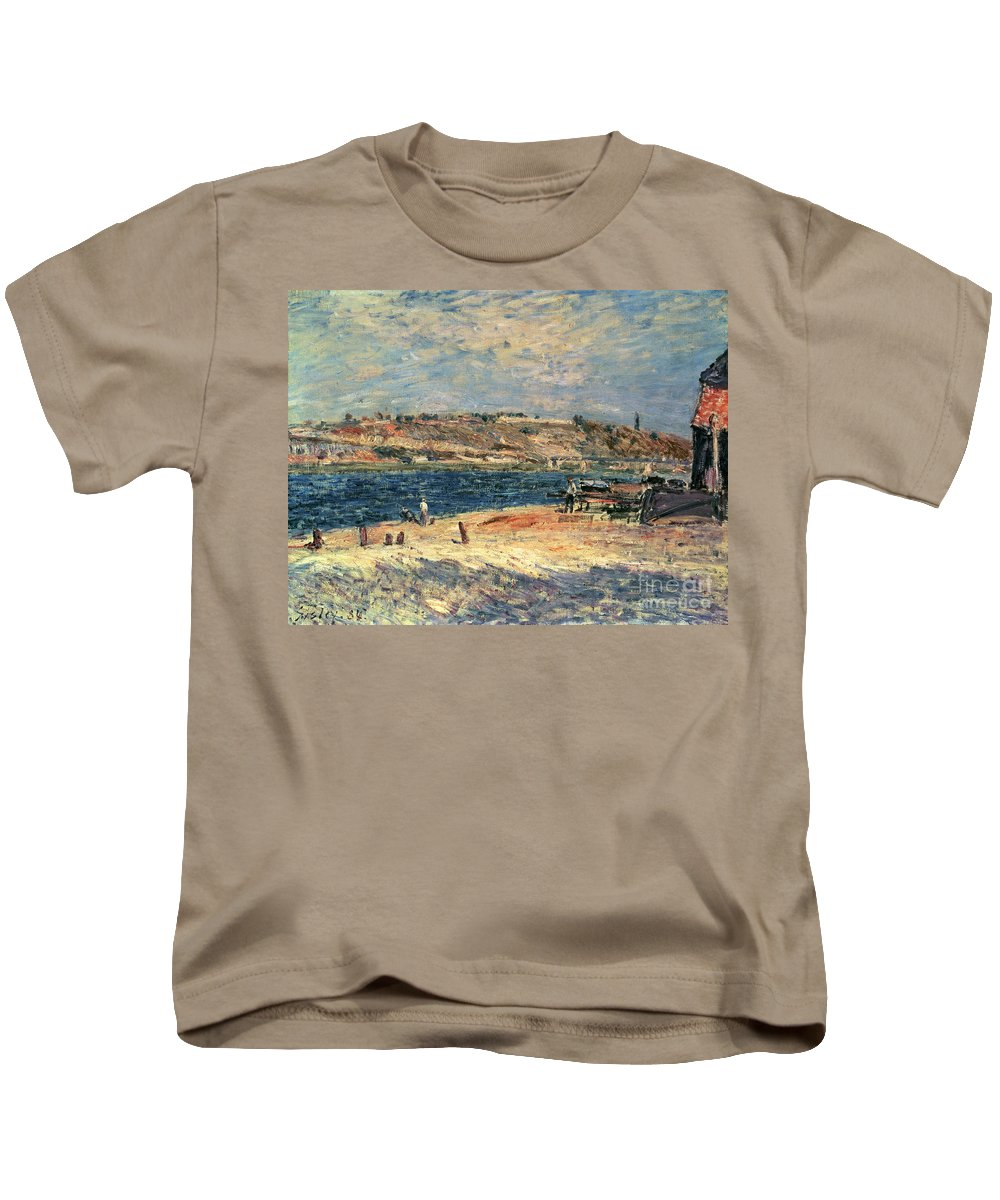 River Kids T-Shirt featuring the painting River Banks At Saint-mammes by Alfred Sisley