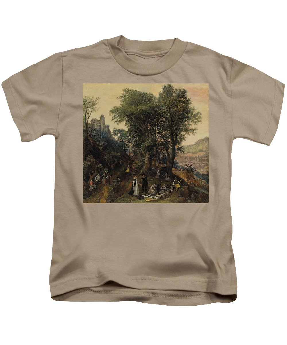 Lucas Van Valckenborch Kids T-Shirt featuring the painting River Landscape In The Spring With Castle And Noblemen by MotionAge Designs