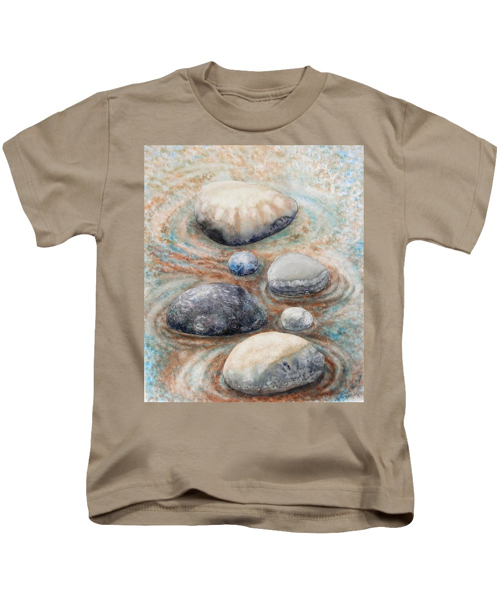 Abstract Kids T-Shirt featuring the painting River Rock 2 by Valerie Meotti