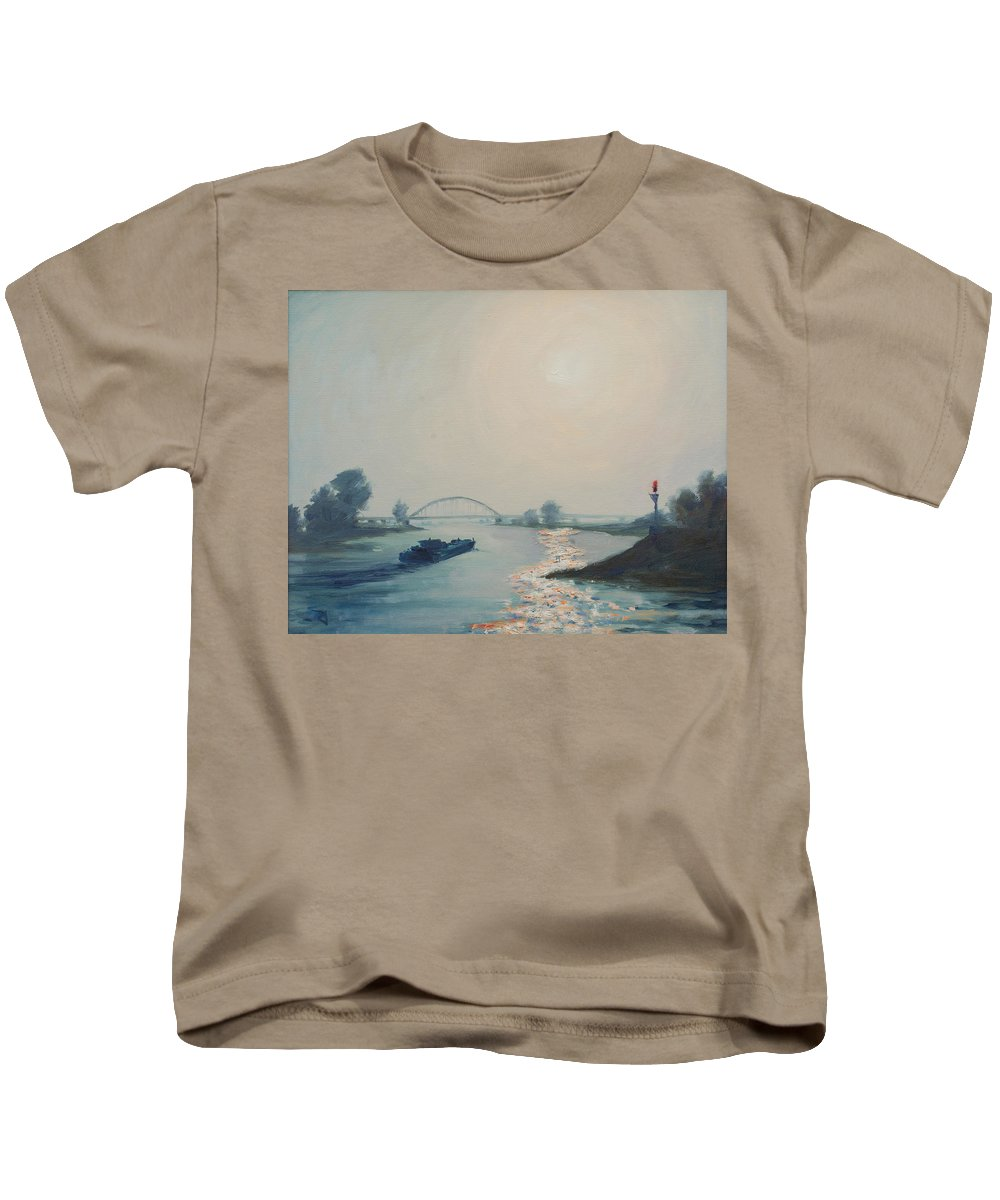 River Kids T-Shirt featuring the painting Riverbarge by Rick Nederlof