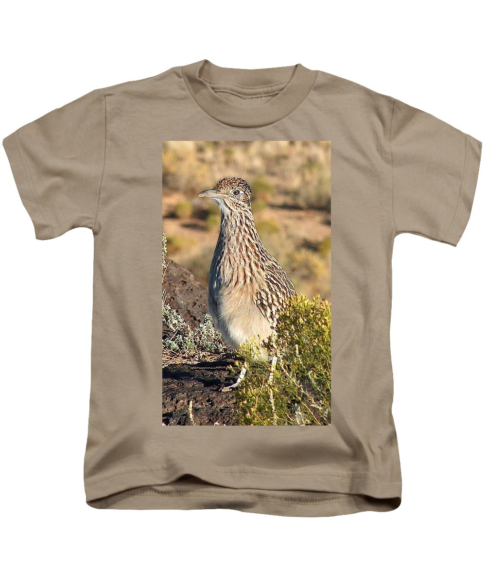 Roadrunner Kids T-Shirt featuring the photograph Roadrunnner At The Petroglyphs by Tim McCarthy