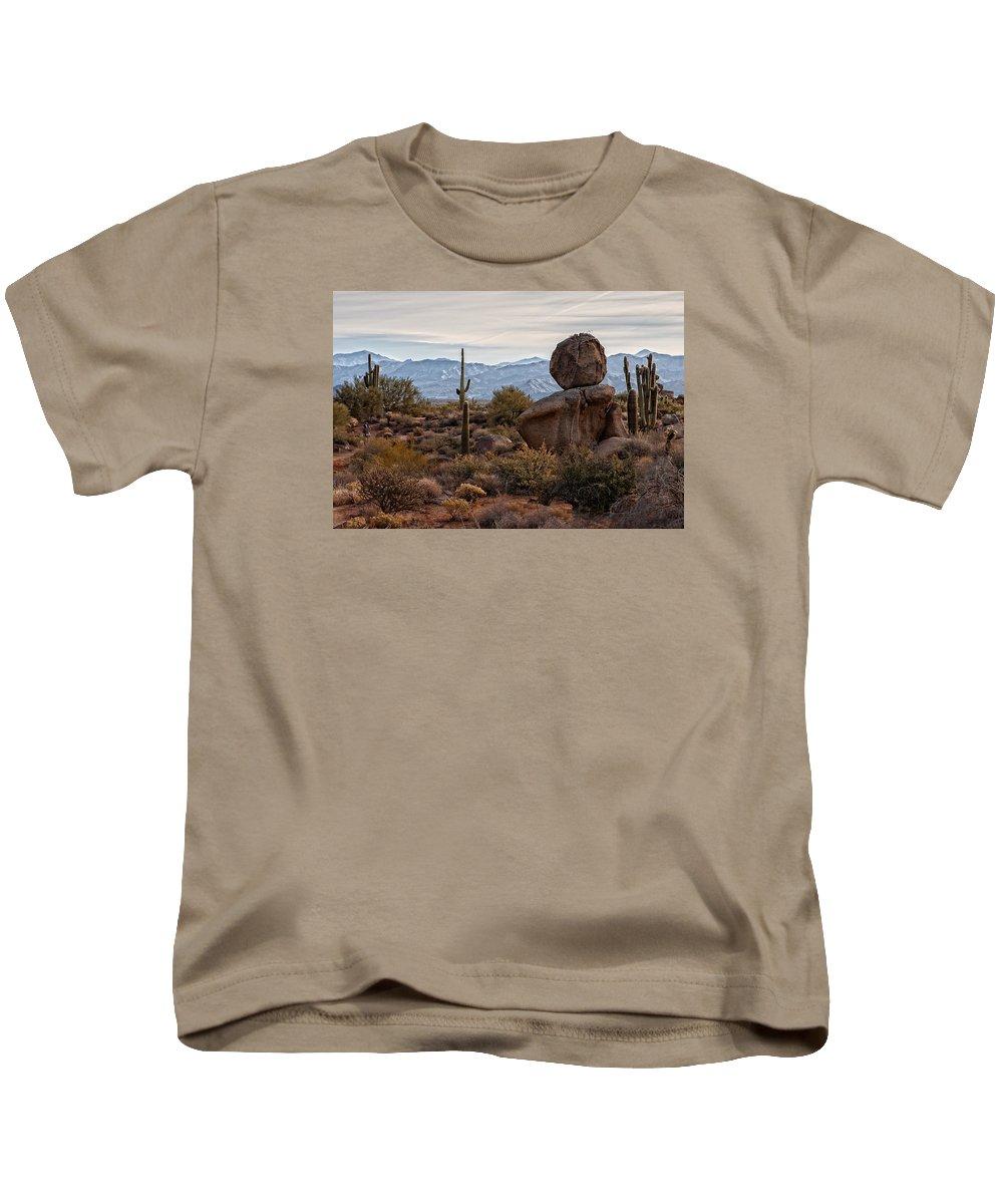 Balanced Rock Kids T-Shirt featuring the photograph Rock N' Roll by Dennis Eckel