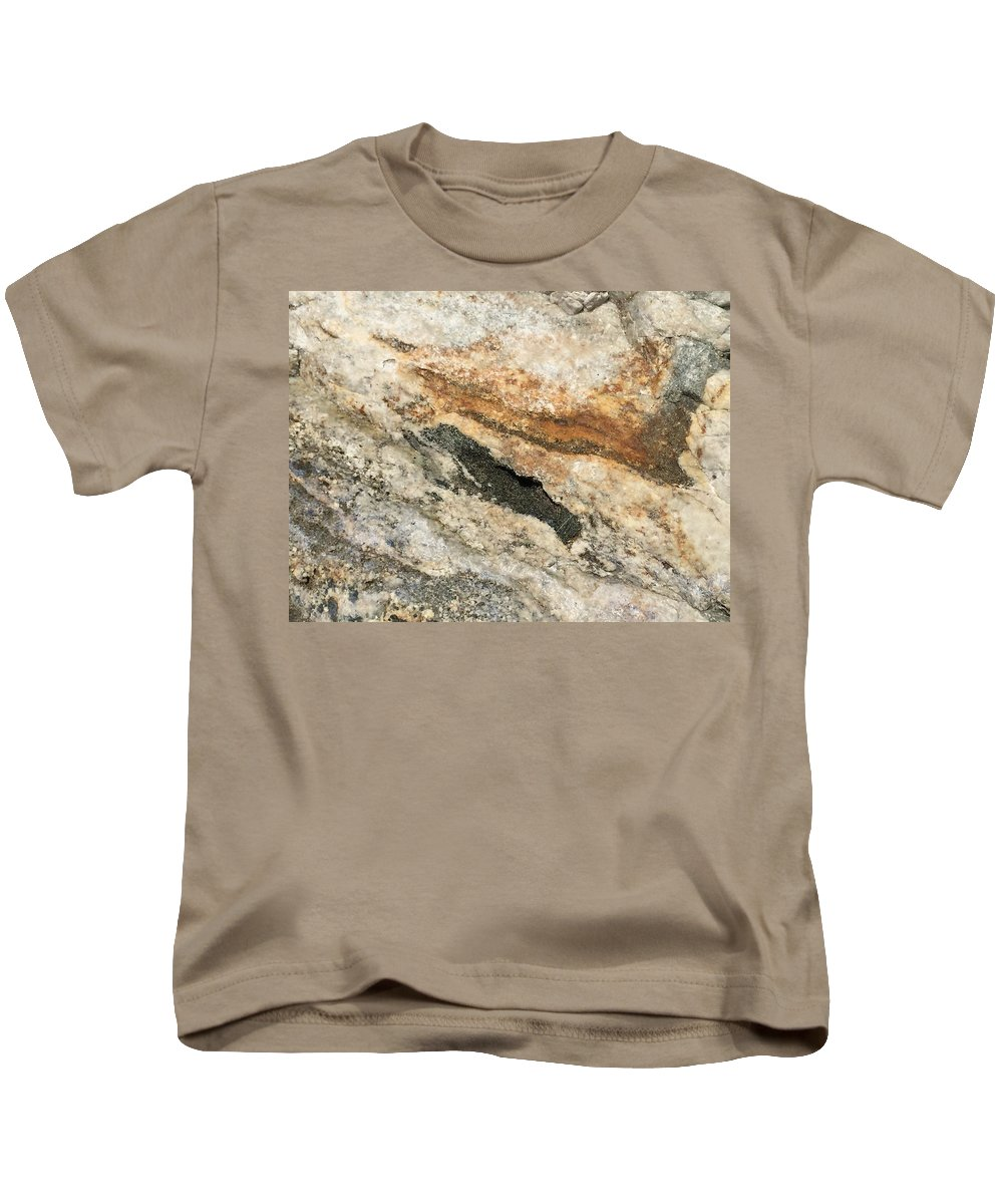 Rock Nature Patterns Colors Closeup Kids T-Shirt featuring the photograph Rock by Russell Keating