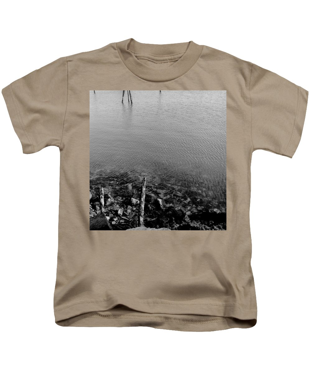 Black And White Kids T-Shirt featuring the photograph Rockport Shore by Timothy Bischoff