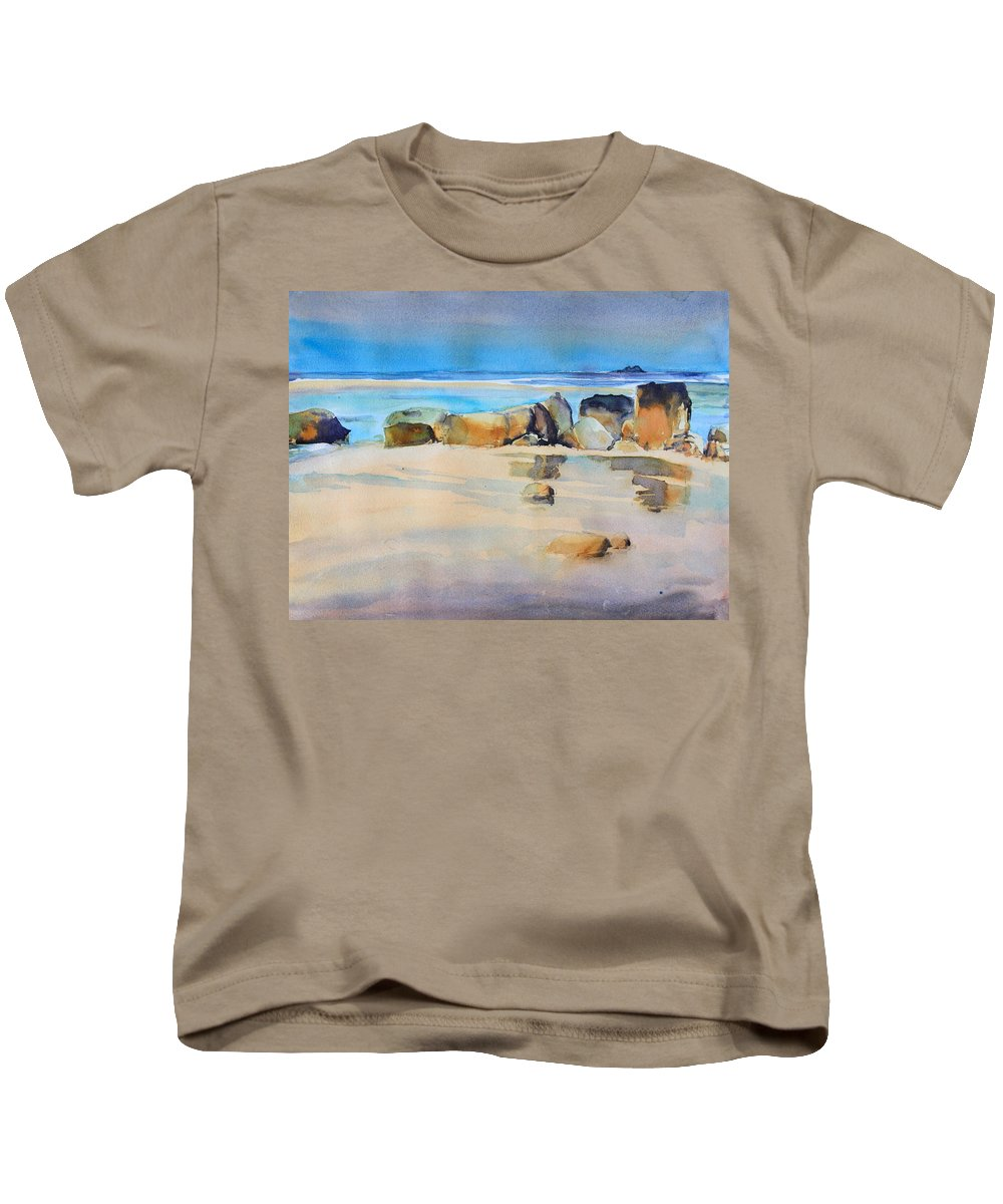 Rocky Shore Kids T-Shirt featuring the painting Rocky Shore by Ibolya Taligas