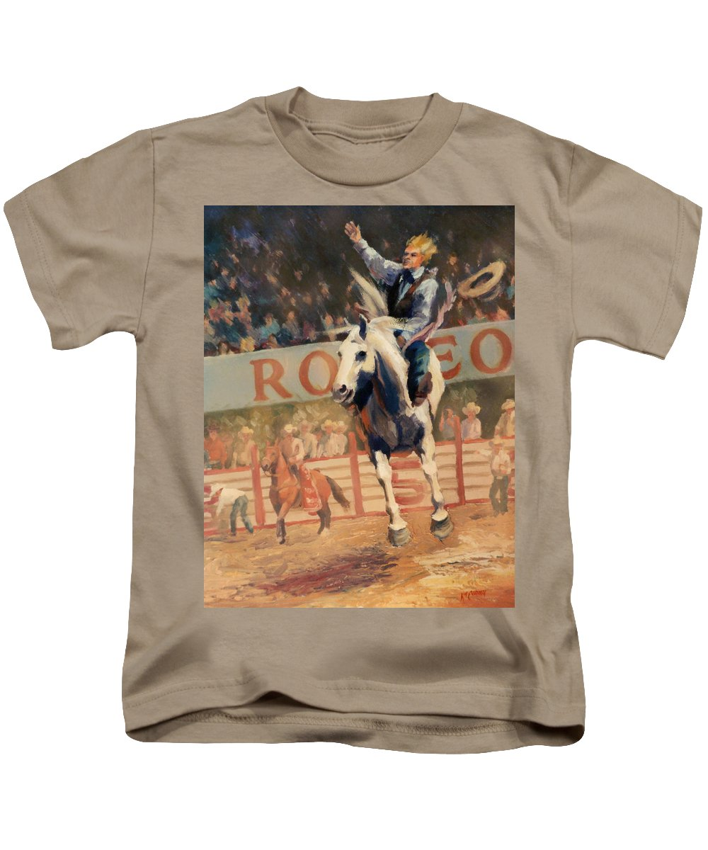 Cowboy Kids T-Shirt featuring the painting Rodeo  Bareback Bronc Painting by Kim Corpany