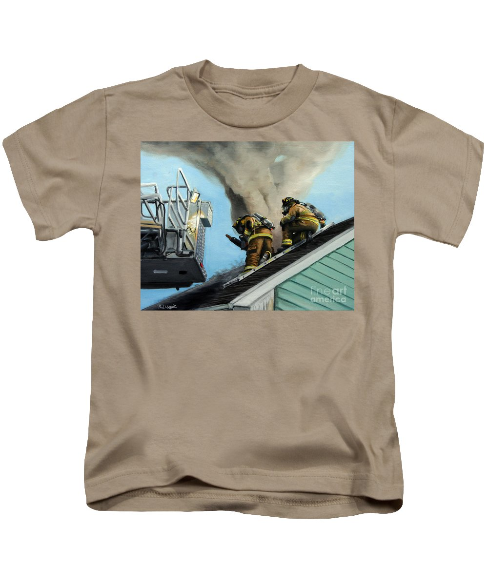 Firefighters Kids T-Shirt featuring the painting Roof Is Open by Paul Walsh