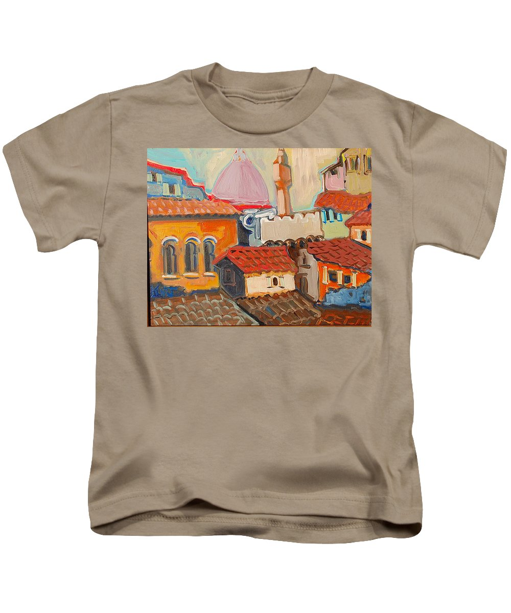 Florence Kids T-Shirt featuring the painting Rooftops by Kurt Hausmann