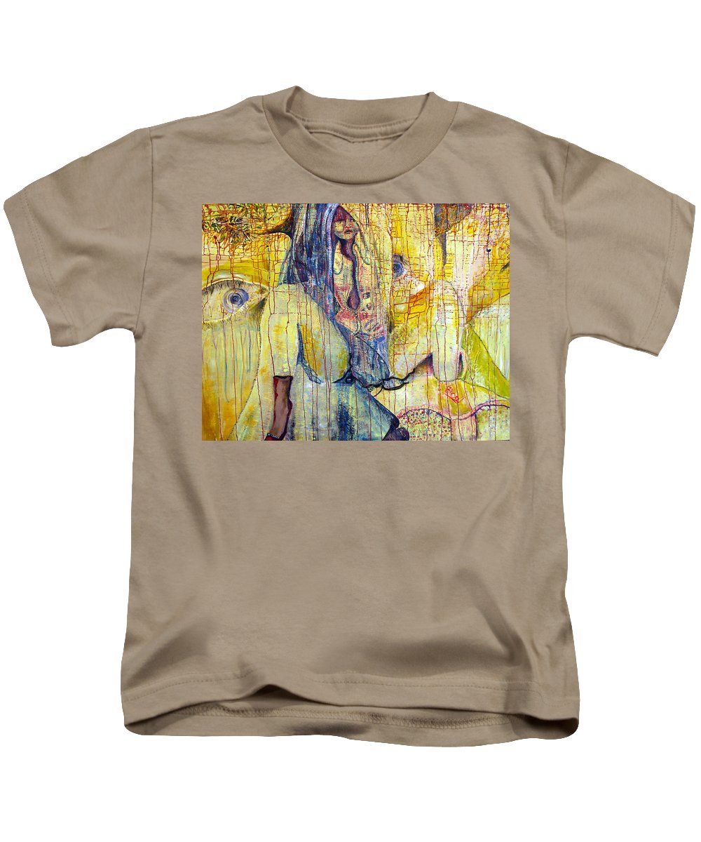 Portrait Kids T-Shirt featuring the painting Roots by Peggy Blood