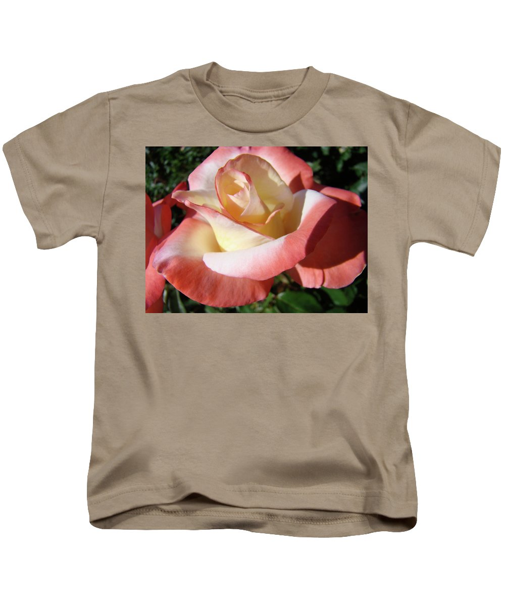 Rose Kids T-Shirt featuring the photograph Rose Artwork Floral Pink White Roses Baslee Troutman by Baslee Troutman