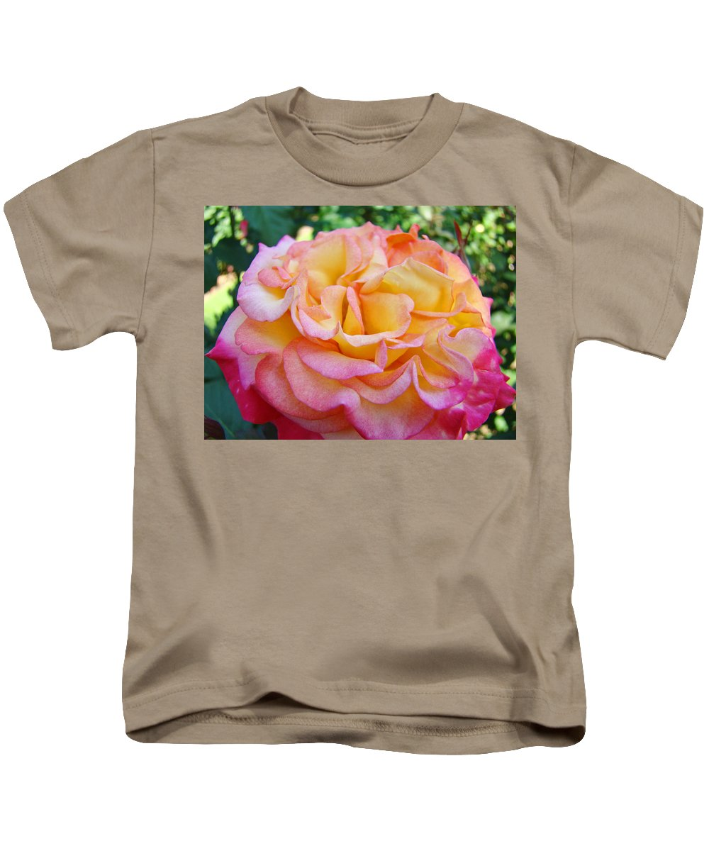 Rose Kids T-Shirt featuring the photograph Rose Pink Yellow Rose Flower 2 Rose Garden Giclee Prints Baslee Troutman by Baslee Troutman