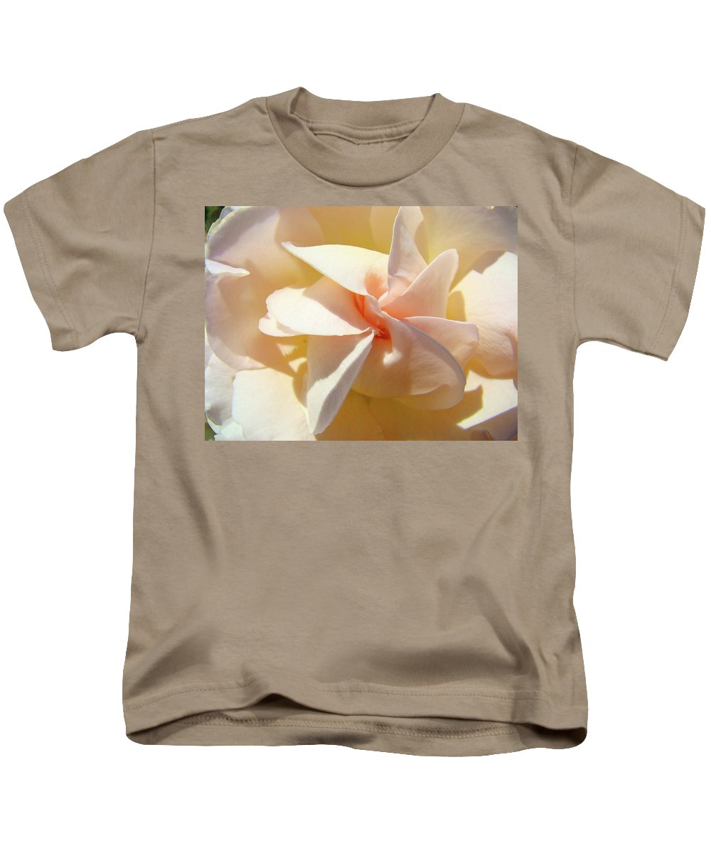 Rose Kids T-Shirt featuring the photograph Rose Spiral Flower Art Prints Peach Rose Floral Baslee Troutman by Baslee Troutman