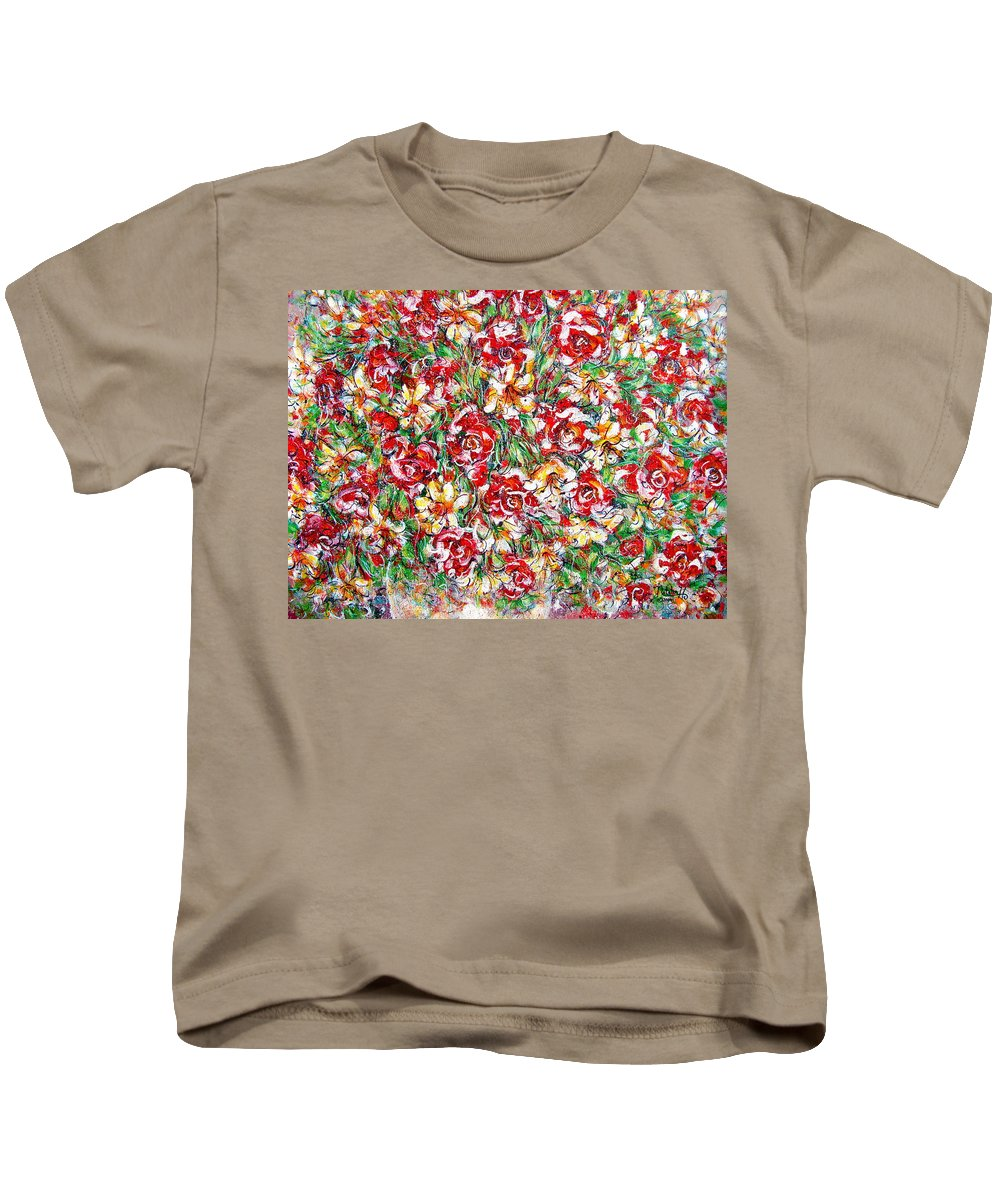 Red Roses Kids T-Shirt featuring the painting Roses For You by Natalie Holland