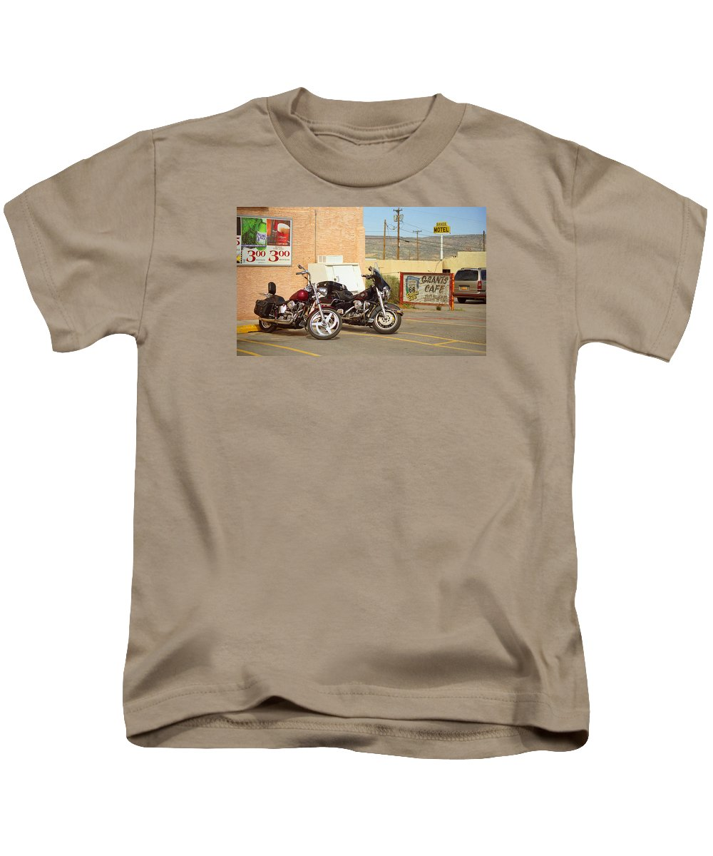 66 Kids T-Shirt featuring the photograph Route 66 - Grants New Mexico Motorcycles by Frank Romeo