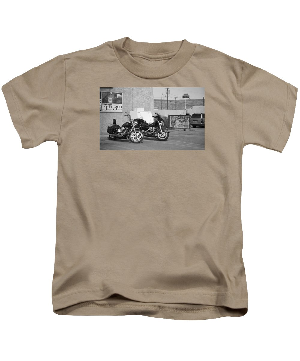 66 Kids T-Shirt featuring the photograph Route 66 Motorcycles Bw by Frank Romeo