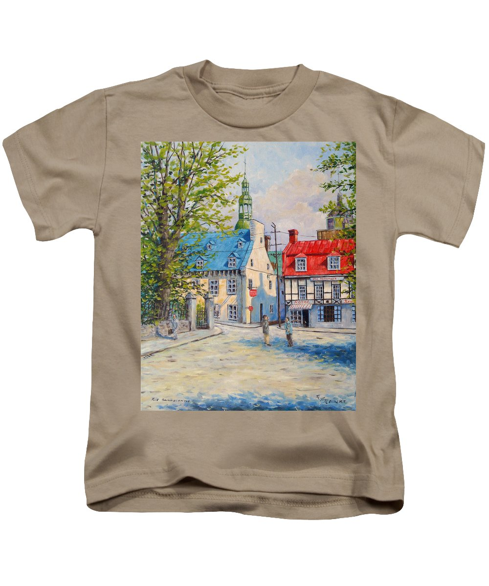 Ste Anne Kids T-Shirt featuring the painting Rue Ste Anne 1965 by Richard T Pranke