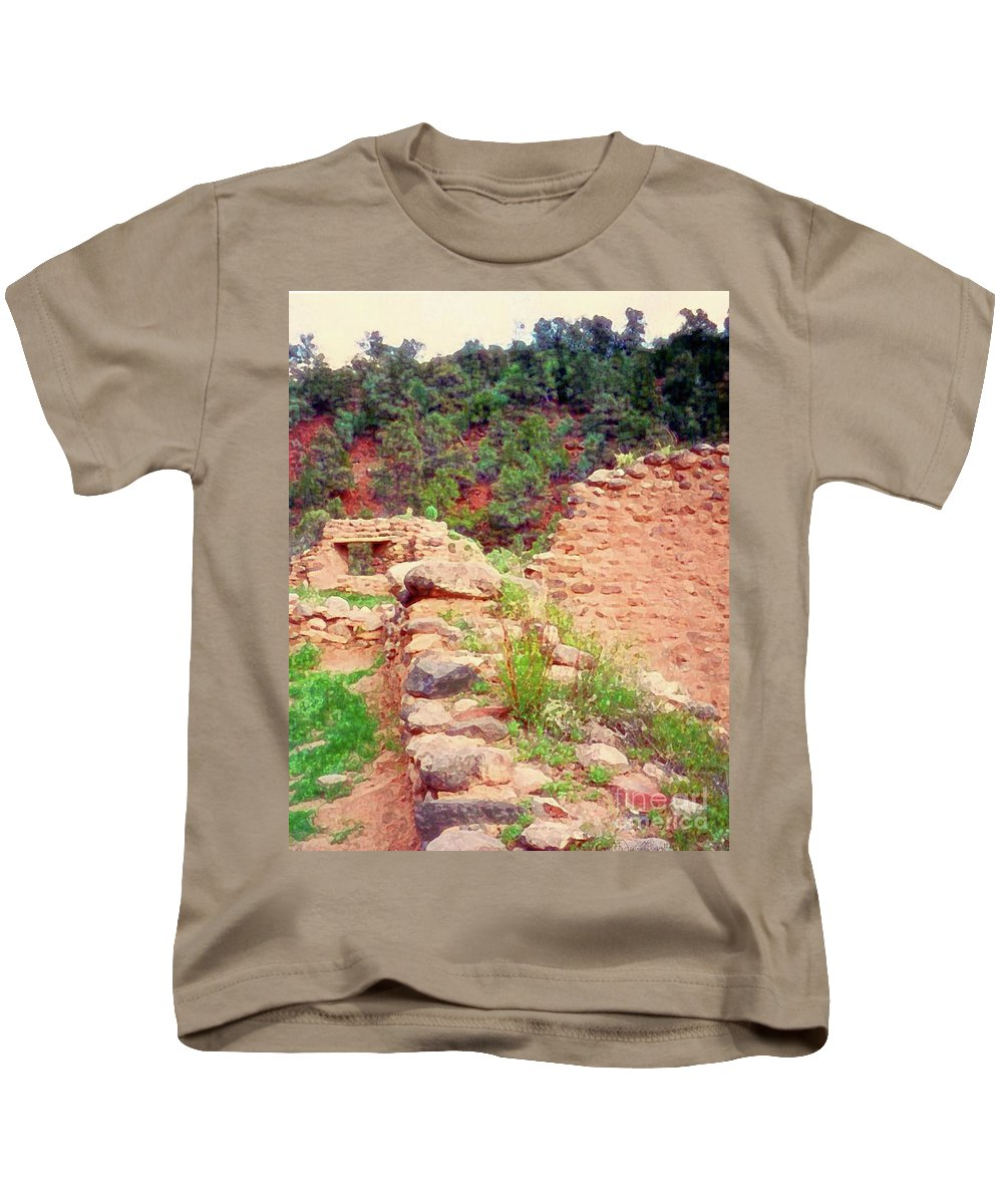 Pueblo Kids T-Shirt featuring the mixed media Ruins by Desiree Paquette